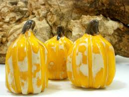 ceramic pumpkins yellow and white ceramic pumpkins ceramics by orly