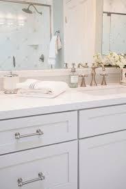 White Bathroom Vanity Cabinet White Shaker Vanity Cabinets With Gray Glass Tile Backsplash