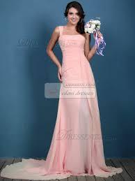 Light Pink Bridesmaid Dress A Line Chiffon Ruched One Shoulder Sweep Light Pink Bridesmaid