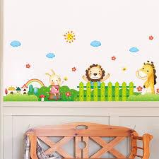 cartoon animals in the garden wall sticker for kids room nursery