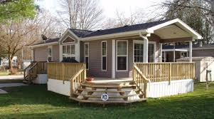 wood deck and cover for mobile or manufactured home wood porch