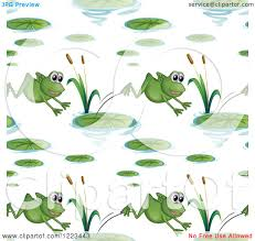 clipart of a seamless background pattern of frogs and lily pads