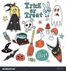 halloween clipart cute collection cute embroidery patches stickers collection halloween stock vector