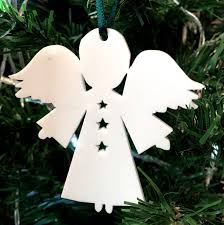 angel stars christmas xmas tree decorations in white red lime