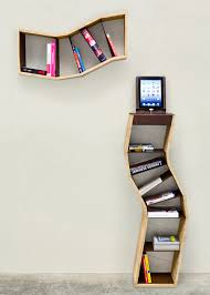 unique small bookshelves design idea for wall and floor showing