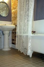 Clawfoot Tub Shower Curtain Ideas White Lace Shower Curtain With Clawfoot Tub