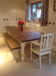 Rustic Bench Dining Table Remarkable Rustic Farmhouse Shabby Chic Solid 10 Seater Dining