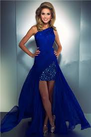 high low one shoulder royal blue chiffon beaded homecoming party