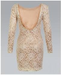 krispwoman long sleeve foil lace bodycon cream dress womens from
