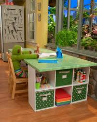 kids study area or activity desk made from modular storage units