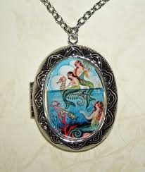 vintage locket pendant necklace images Mermaid necklace locket mermaids pendant photo holder vintage png