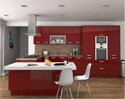glazing red modern cabinet and white chairs for mini kitchen ideas