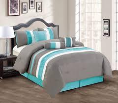 aqua ruffle comforter com modern 7 piece bedding yellow grey white pin tuck