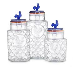 blue and white kitchen canisters amazon com country kitchen rooster canisters set of three 3