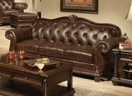 Living Room  Attractive Top Grain Leather Sofa Set Unique Dark - Full leather sofas