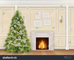 luxury interior wall christmas tree fireplace stock vector
