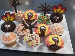 thanksgiving cupcakes turkeys trees pies easy