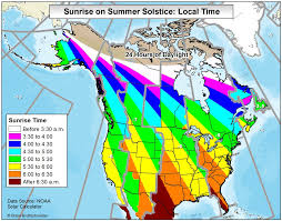 Map Of Usa And Canada by Map Of Sunrise Times In Usa And Canada On The Summer Solstice