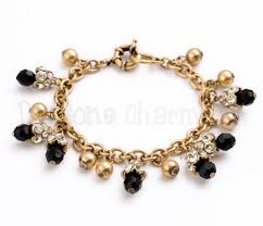black bracelet with charm images Black onyx gold classic charm bracelet jpg