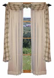 Tab Top Country Curtains Country Window Treatment Primitive Country Curtains Rustic