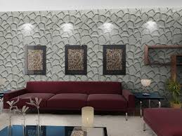 contemporary living room design featuring pattern wall panel