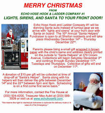 echo hose firefighters santa to deliver shelton gifts