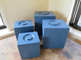 midcentury square wood canister set four nesting boxes blue paint