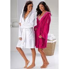 robe de chambre eponge femme peignoir de bain à capuche femme en éponge cilia kangaroos blanc