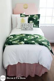 palm leaf pastel pink designer teen bedding set
