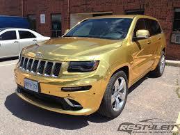 jeep vinyl wrap gold chrome jeep grand cherokee srt 8 vehicle customization shop