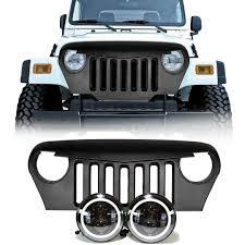 stock jeep headlights jeep tj led projector headlights halo u0026 grille combo pack leds