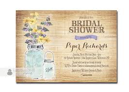 mason jar bridal shower invitation rustic wood shabby chic