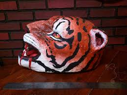 halloween paper mache masks senche tiger khajiit paper mache clay tiger headdress mask