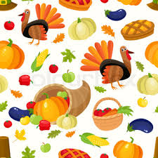 set of thanksgiving symbols turkey pumpkin pie and pilgrim hat