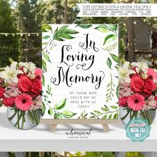 in loving memory wedding sign in loving memory sign windblown printable file only wedding