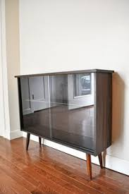 Vintage Bookcase With Glass Doors Mid Century Cabinet Mcm Modern Mid Century Bookcase