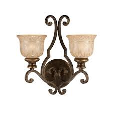 Overstock Wall Sconces Crystorama Bronze Umber Amber Glass Shade 2 Light Wall Sconce