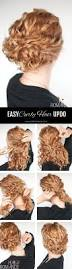 super easy updo hairstyle tutorial for curly romance