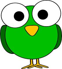 clipart green googly eye bird
