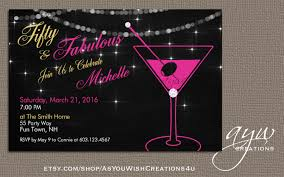martini glass birthday party invitation printable invitation