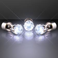 led earrings white faux diamond pierced led earrings blinkeez