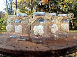 jar centerpieces rustic jars with sola flower rustic wedding