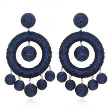 suzanna dai earrings chandelier hoop earrings navy metallic suzanna dai jewelry