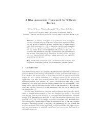 a risk assessment framework for software testing pdf download