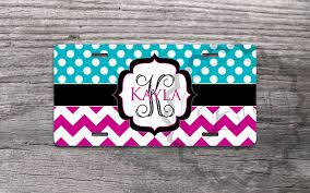 monogrammed plate custom license plate turquoise polka dots and magenta chevron
