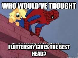 Best Spiderman Memes - who would ve thought fluttershy gives the best head spiderman
