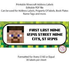 printable address labels minecraft steve max otis designs