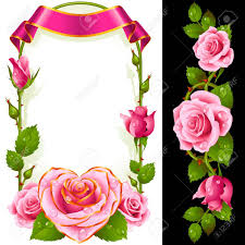 curly ribbon set of floral decoration pink roses green leaves and curly