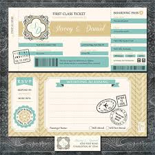 plane ticket wedding invitations boarding pass gold and blue