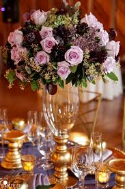 Gold Table Centerpieces by Elegant Gold And Purple Wedding Table Decor Takes Barn Weddings